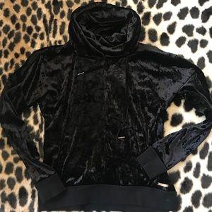 Black Crushed Velvet Cowlneck Hoodie